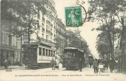 """CPA FRANCE 94 """"Charenton Saint Maurice, rue de Saint Mandé, terminus des tramways"""""""