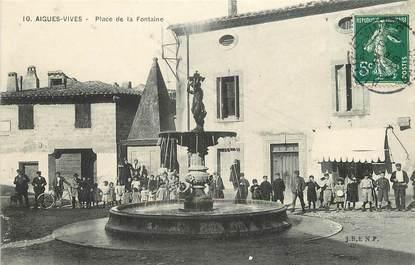 """CPA FRANCE 30  """"Aigues Vives, Place de la Fontaine"""""""