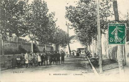 """CPA FRANCE 30  """"Aigues Vives, l'avenue"""""""