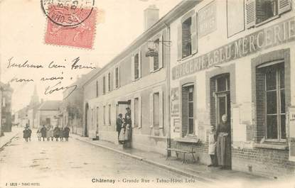 "CPA FRANCE 77 ""Châtenay, la grande rue, le tabac hotel Lelu"""