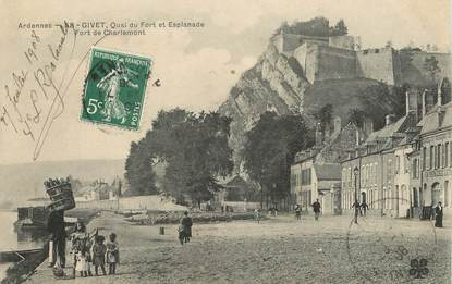 "/ CPA FRANCE 08 ""Givet, quai du Fort et esplanade"""