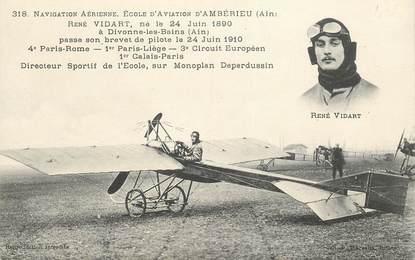 """CPA FRANCE 01 """"Ambérieu, Ecole d'aviation, René VIDART"""""""