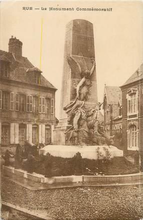 """/ CPA FRANCE 80 """"Rue, le monument Commémoratif"""""""