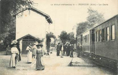"CPA FRANCE 01 ""Poncin, la gare"" / TRAIN"