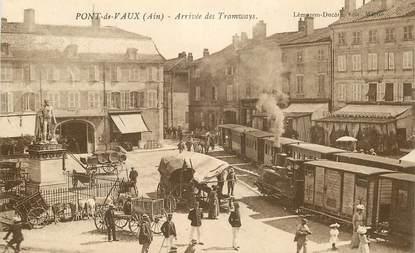 """CPA FRANCE 01 """"Pont de Vaux, arrivée des tramways"""""""