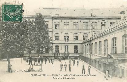 """/ CPA FRANCE 75016 """"Paris Auteuil, école normale d'instituteurs de la Seine, cour de récréation"""""""
