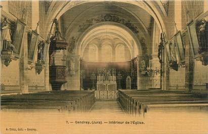 """/ CPA FRANCE 39 """"Gendrey, intérieur de l'église"""""""