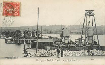 "CPA FRANCE 13 ""Martigues, pont de Caronte en construction"""