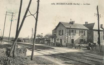 """CPA FRANCE 72 """"Rouessé Vassé, la gare"""""""