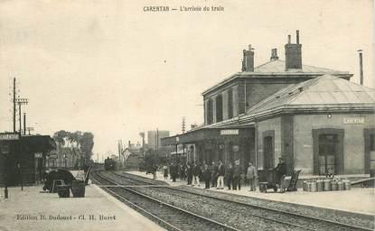 """CPA FRANCE 50 """"Carentan, la gare, arrivée du train"""""""