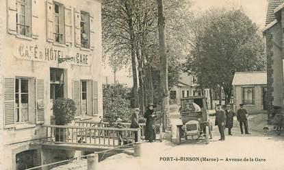 "CPA FRANCE 51 ""Port à Binson, avenue de la Gare, café et hotel de la gare"""
