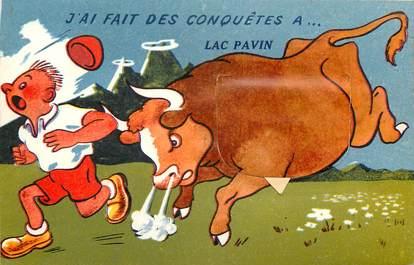 "CPA FRANCE 63 ""Lac Pavin"" / CARTE A SYSTEME"