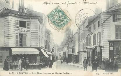 """/ CPA FRANCE 17 """"Saintes, rue Alsace Lorraine et clocher Saint Pierre"""""""