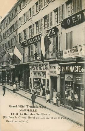 "CPA FRANCE 13 ""Marseille, grand Hotel transatlantique, rue des Feuillants"""