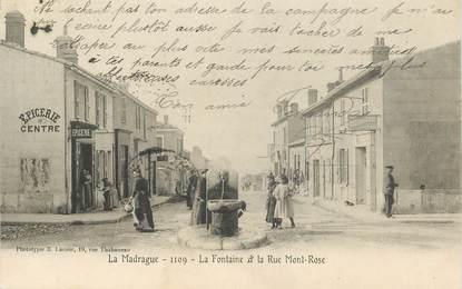 """CPA FRANCE 13 """"La Madrague, la Fontaine et la rue Mont Rose"""" /   BANLIEUE DE MARSEILLE"""