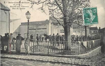 """CPA FRANCE 77 """"Brie Comte Robert, le marché aux chevaux, rue du Lavoir"""""""