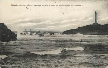 cpa france 64 biarritz naufrage en face le phare du navire anglais kneworth 64 pyr n es. Black Bedroom Furniture Sets. Home Design Ideas