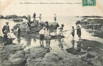 """/ CPA FRANCE 44 """"Piriac sur Mer, rochers de la plage Korechen"""" / PÊCHE"""