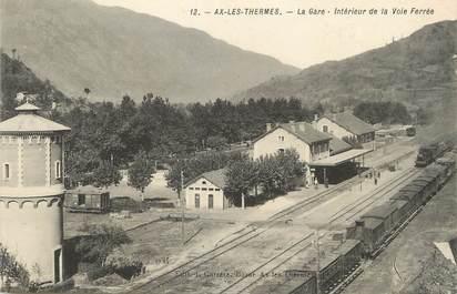 """/ CPA FRANCE 09 """"Ax Les Thermes, la gare, intérieur de la voie ferrée"""""""