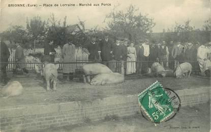 """CPA FRANCE 27 """" Brionne, Place de Lorraine, Marché aux Porcs"""""""