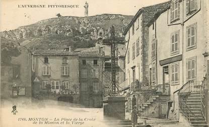 """CPA FRANCE 63 """"Monton, La Place de la Croix de la Mission de la Vierge"""""""