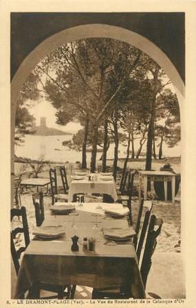 """/ CPA FRANCE 83 """"Le Dramont plage, la vue du restaurant de la calanque d'Or"""""""