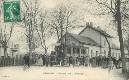 """CPA FRANCE 18 """"Nérondes, la gare"""" / BUS"""