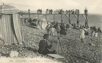 """CPA FRANCE 76 """"Le Havre, sur la plage"""" / PEINTRE"""