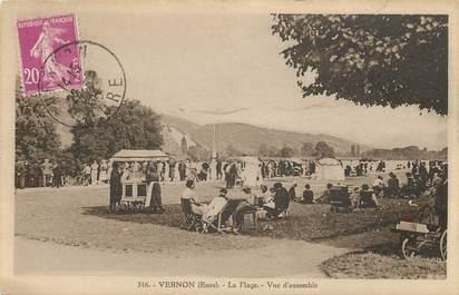 """CPA FRANCE 27 """"Vernon, la Plage et vue d'ensemble"""""""