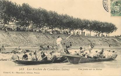 """CPA FRANCE 38 """"Les Roches de Condrieu, une joute sur le Rhône"""""""