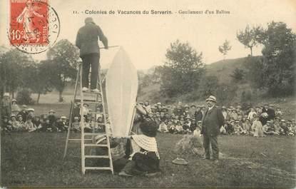 """CPA FRANCE 38 """"Colonies de vacances du Serverin, gonflement d'un ballon"""""""