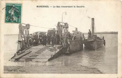"/ CPA FRANCE 17 ""Marennes, le bac traversant la Seudre"""