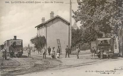 """CPA FRANCE 38 """"La Côte Saint André, la gare du Tramway"""""""