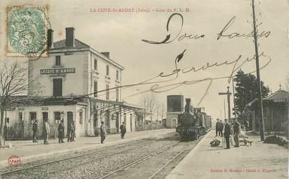 """CPA FRANCE 38 """"La Côte Saint André, la gare"""" / TRAIN"""