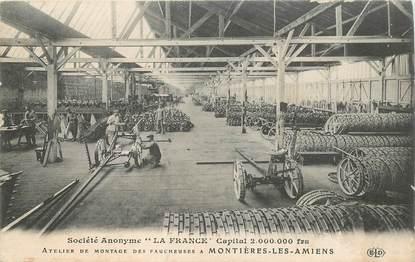 """CPA FRANCE 80 """"Montières les Amiens, atelier de montage des faucheuses"""""""