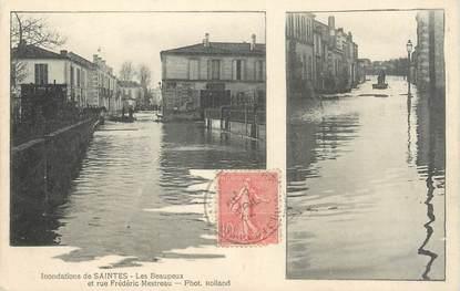 """/ CPA FRANCE 17 """"Saintes, les Beaupeux et rue Frédéric Mestreau"""" / INONDATION"""