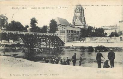 "/ CPA FRANCE 17 ""Saintes, étude sur les bords de la Charente"""