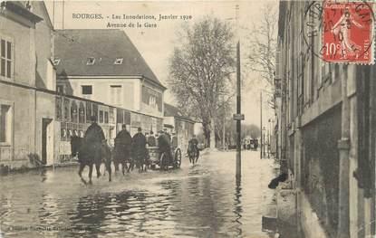 """/ CPA FRANCE 18 """" Bourges, avenue de la gare"""" / INONDATION"""