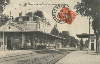 """/ CPSM FRANCE 18 """"Saint Amand Montrond, gare du chemin de fer"""""""