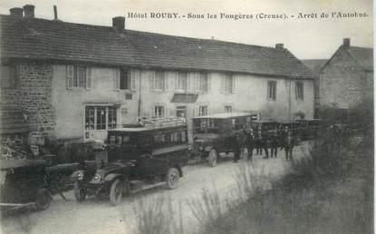 """CPA FRANCE 23 """"Hotel Rouby, sous les Fougères, arrêt de l'Autobus"""""""