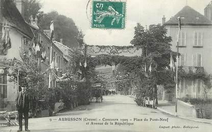 "CPA FRANCE 23 ""Aubusson, concours 1909, Place u Pont Neuf"""