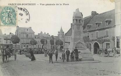 """/ CPA FRANCE 80 """"Crécy en Ponthieu, vue générale de la place"""""""