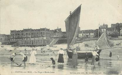 """/ CPA FRANCE 80 """"Onival sur mer, la plage à marée basse"""""""