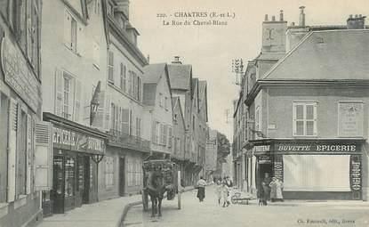 """CPA FRANCE 28 """"Chartres, la rue du Cheval Blanc"""" / EPICERIE"""