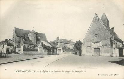 """CPA FRANCE 37 """"Chenonceaux, Eglise et Maison des Pages de François Ier"""""""