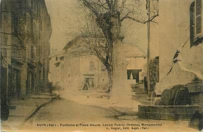 """/ CPA FRANCE 83 """"Aups, fontaine et place neuve"""""""