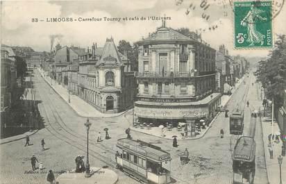 """/ CPA FRANCE 87 """"Limoges, carrefour Tourny et café de l'univers"""" / TRAMWAY"""