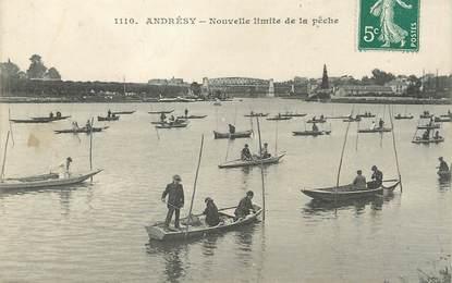 """/ CPA FRANCE 78 """"Andrésy, nouvelle limite de la pêche"""""""