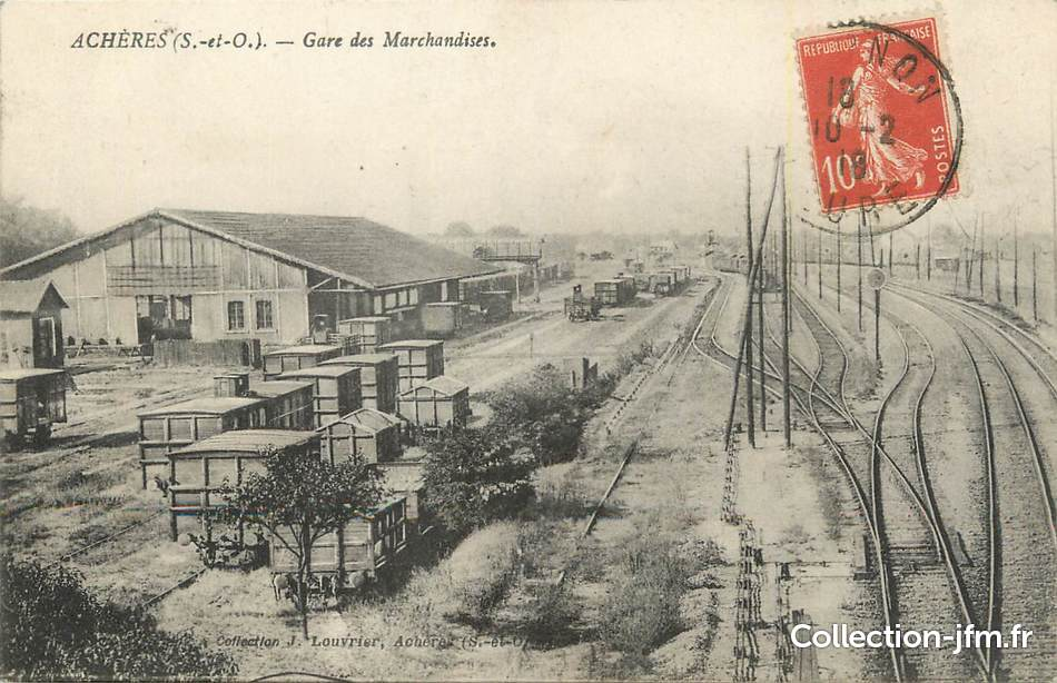 Cpa france 78 ach res gare des marchandises 78 for Garage des communes acheres
