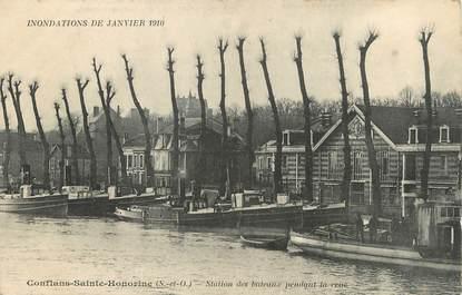 """/ CPA FRANCE 78 """"Conflans Sainte Honorine, station des bateaux pendant la crue"""" / INONDATION 1910 / PENICHE"""